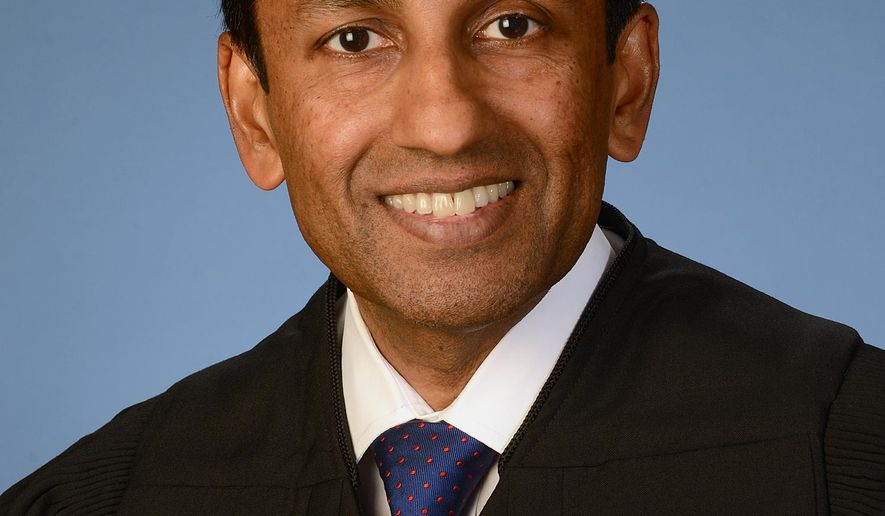 This photo provided by the U.S. Court of Appeals District of Columbia Circuit shows Judge Sri Srinivasan in Washington. Srinivasan, who was born in India and grew up in Kansas, would be the first foreign-born justice to serve on the Supreme Court in more than 50 years. The 49-year-old Srinivasan is one of several people being mentioned prominently as a potential replacement for Justice Antonin Scalia, who died last month. (U.S. Court of Appeals District of Columbia Circuit via AP)