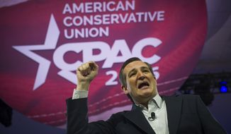 GOP presidential candidate Sen. Ted Cruz (R-Tex) delivers his speech on the second day of the American Conservative Union CPAC 2016 at the Gaylord National Resort and Convention Center in National Harbor, Md., Friday, March 4, 2016. (Photo Rod Lamkey Jr.)