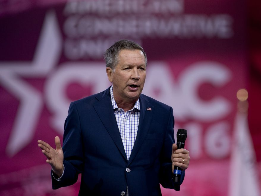 Republican presidential candidate, Ohio Gov. John Kasich speaks during the Conservative Political Action Conference (CPAC), Friday, March 4, 2016, in National Harbor, Md. (AP Photo/Carolyn Kaster)