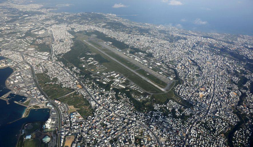 This aerial photo taken October 2015 shows U.S. Marine Air Station Futenma in Ginowan, Okinawa, southern Japan. (Kazuhiko Yamashita/Kyodo News via AP, File)