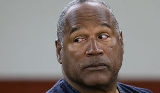 In this May 13, 2013, file photo, O.J. Simpson appears at an evidentiary hearing in Clark County District Court, in Las Vegas. Los Angeles police are investigating a knife purportedly found some time ago at the former home of Simpson, who was acquitted of murder charges in the 1994 stabbing deaths of his ex-wife Nicole Brown Simpson and her friend Ron Goldman. (AP Photo/Julie Jacobson, Pool, File)