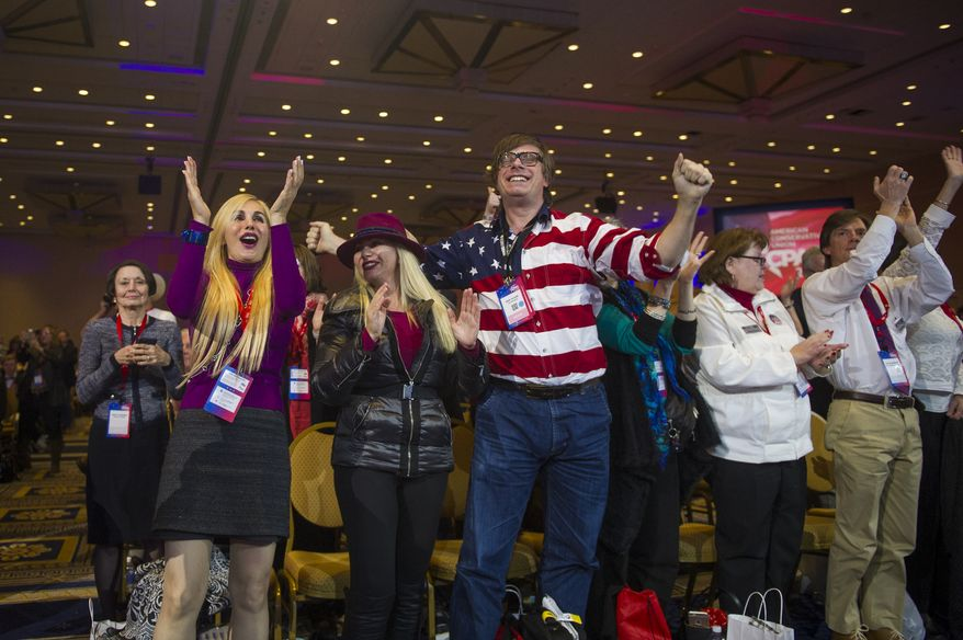 The crowd reacts to the results of the 2016 CPAC Straw Poll which declared republican presidential candidate Sen. Ted Cruz (R-Tex) the winner, on the last day of the American Conservative Union CPAC 2016 at the Gaylord National Resort and Convention Center in National Harbor, Md., Saturday, March 5, 2016. (Photo Rod Lamkey Jr.)