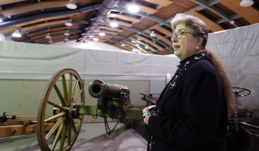 ADVANCE FOR THE WEEKEND OF MARCH 5-6 AND THEREAFTER - Museum Curator Tracy Thoennes talks about renovation plans for the Oregon Military Museum and shows some of the historical artifacts in storage on Feb. 11, 2016, in Clackamas, Ore. Among the artifacts in storage is this Civil War-era cannon that was brought to Oregon in the 1860s and used during the Indian Wars. (Danielle Peterson/Statesman-Journal via AP) MANDATORY CREDIT