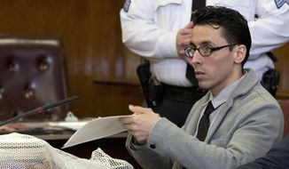 In this Feb. 25, 2016 photo, Elliot Morales is seen during his hate crime murder trial in Manhattan criminal court. Morales, who represented himself, argued that he shot and killed Mark Carson, an unarmed gay man, in self-defense. The jury is expected to get the case on the week of March 7, 2016. (AP Photo/Mary Altaffer)