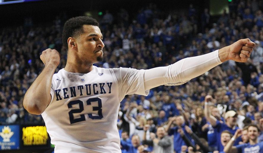 Kentucky's Jamal Murray celebrates a 3-pointer during the second half of an NCAA college basketball game against LSU Saturday, March 5, 2016, in Lexington, Ky. Kentucky won 94-77. (AP Photo/James Crisp)