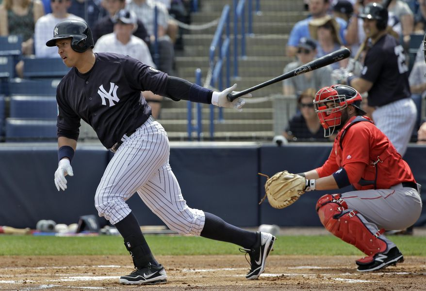 New York Yankees' Alex Rodriguez singles off Boston Red Sox starting pitcher Steven Wright during the first inning of a spring training baseball game Saturday, March 5, 2016, in Tampa, Fla. Catching for Boston is Sandy Leon. (AP Photo/Chris O'Meara)