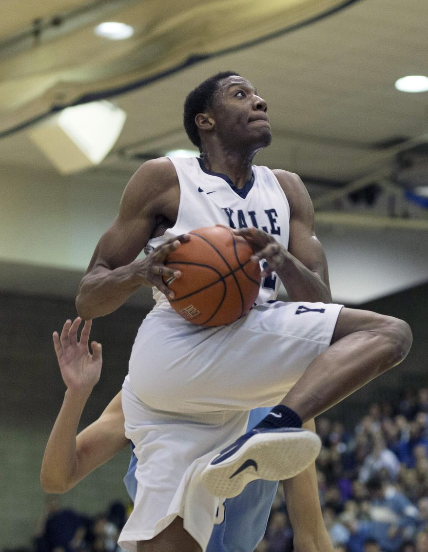 Yale forward Justin Sears (22) shoots lays up the ball in the first half of an NCAA Ivy League Conference college basketball game against Columbia, Saturday, March 5, 2016, in New York. (AP Photo/Bryan R. Smith)