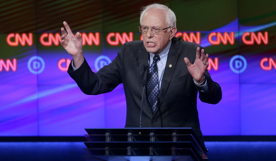 """""""When I'm elected president, we're going to invest a lot of money into mental health and when you watch these Republican debates you know why we need to invest in mental health,"""" said Sen. Bernard Sanders. (Associated Press)"""