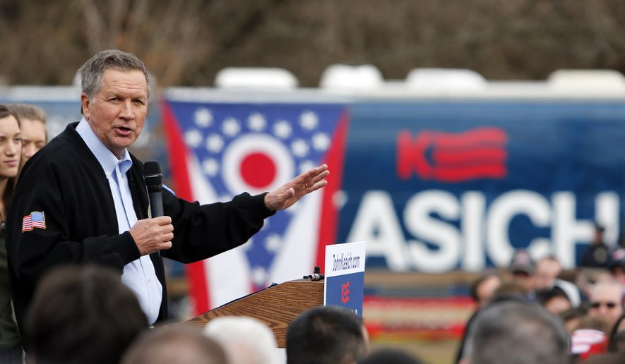 Republican presidential candidate, Ohio Gov. John Kasich, speaks during a campaign rally Sunday, March 6, 2016, in Columbus, Ohio. (AP Photo/Jay LaPrete)