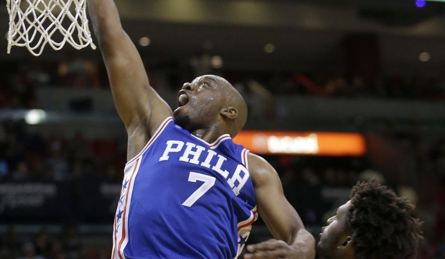 Philadelphia 76ers forward Carl Landry (7) goes to the basket against the Miami Heat during the first half of an NBA basketball game, Sunday, March 6, 2016, in Miami. (AP Photo/Alan Diaz)