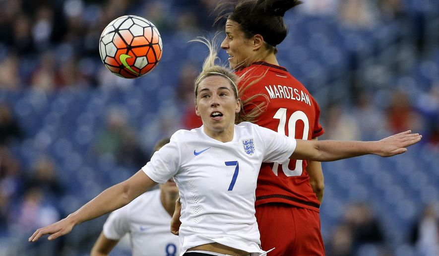 England midfielder Jordan Nobbs (7) and Germany forward Dzsenifer Marozsan (10) battle for the ball during the first half of a SheBelieves Cup women's soccer match Sunday, March 6, 2016, in Nashville, Tenn. (AP Photo/Mark Humphrey)