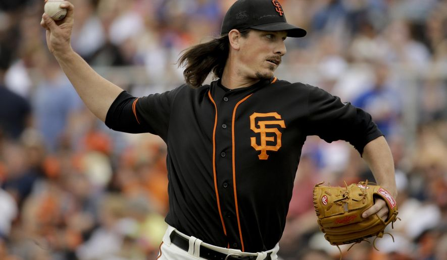 San Francisco Giants starting pitcher Jeff Samardzija throws against the Los Angeles Dodgers during first inning of a spring baseball game in Scottsdale, Ariz., Sunday, March 6, 2016. (AP Photo/Chris Carlson)