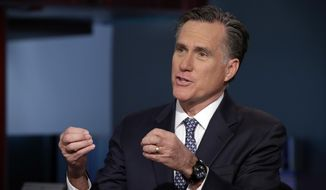 """Mitt Romney is interviewed by Neil Cavuto during his """"Cavuto Coast to Coast"""" program on the Fox Business Network, in New York Friday, March 4, 2016. (AP Photo/Richard Drew) ** FILE **"""