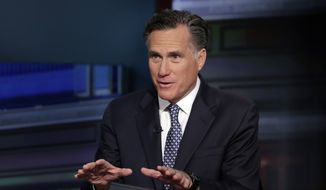 "Mitt Romney is interviewed by Neil Cavuto during his ""Cavuto Coast to Coast"" program on the Fox Business Network, in New York Friday, March 4, 2016. (AP Photo/Richard Drew)"