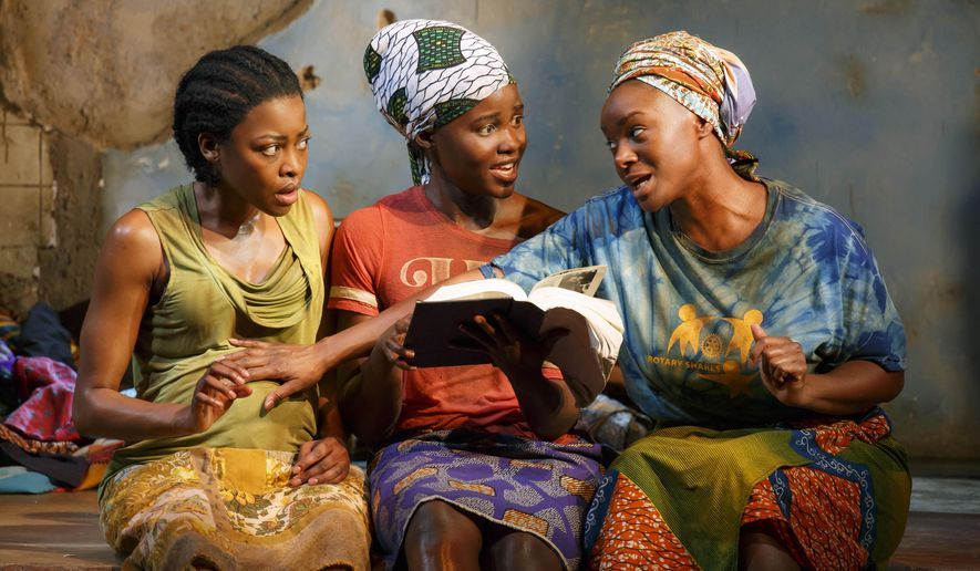 """This photo provided by Joan Marcus shows from left, Pascale Armand, Lupita Nyong'o, and Saycon Sengbloh in a scene from Danai Gurira's """"Eclipsed"""", directed by Liesl Tommy. (Joan Marcus via AP)"""