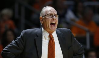 Miami head coach Jim Larranaga calls out to players during the first half of an NCAA college basketball game against Louisville, Saturday, Feb. 27, 2016, in Coral Gables, Fla. (AP Photo/Wilfredo Lee)