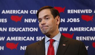 Republican presidential candidate, Sen. Marco Rubio, R-Fla., speaks to the media before a campaign rally in Tampa, Fla., Monday, March 7, 2016. (AP Photo/Paul Sancya) ** FILE **