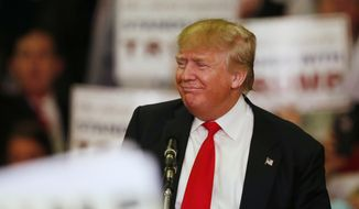 Republican presidential candidate Donald Trump speaks during a campaign rally Monday, March 7, 2016, in Madison, Miss. (AP Photo/Brynn Anderson) ** FILE **