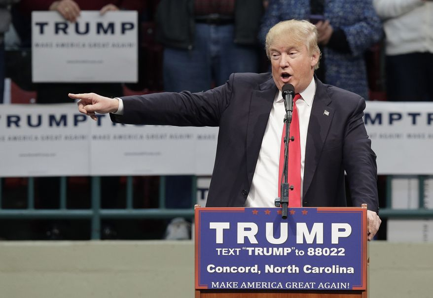 In this March 7, 2016, photo, Republican presidential candidate Donald Trump speaks during a campaign rally in Concord, N.C. (AP Photo/Gerry Broome)