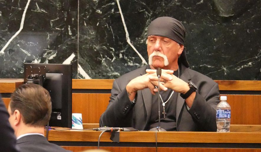 Terry Bollea, known as professional wrestler Hulk Hogan, listens while testifying in his case against the news website Gawker at the Pinellas County Courthouse, in St. Petersburg, Fla., Monday, March 7, 2016. Hogan is suing Gawker for $100 million for publishing a video of him having sex with his best friend's wife. (Boyzell Hosey/Tampa Bay Times via AP, Pool)