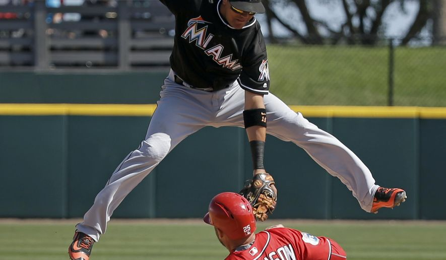 Washington Nationals' Clint Robinson (25) steals second base in the fourth inning as Miami Marlins shortstop Miguel Rojas cannot make the tag due to a high throw from the catcher in a spring training baseball game, Monday, March 7, 2016, in Viera, Fla. (AP Photo/John Raoux)