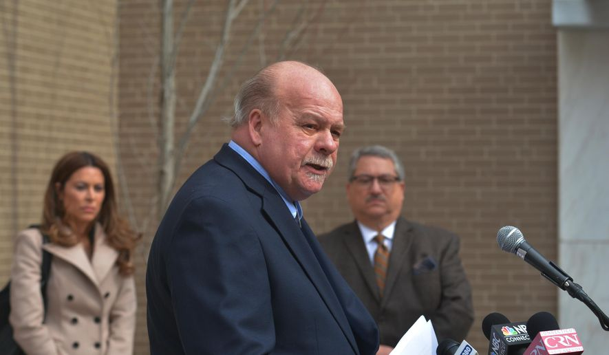 The Schaghticoke Tribal Nation Chief Richard Velky speaks during a news conference Monday, March 7, 2016, in Hartford, Conn. The Schaghticoke Tribal Nation in western Connecticut has joined forces with MGM Resorts to halt plans to allow two federally recognized tribes to pursue a new casino in the state. (Marc-Yves Regis/Hartford Courant via AP) MANDATORY CREDIT