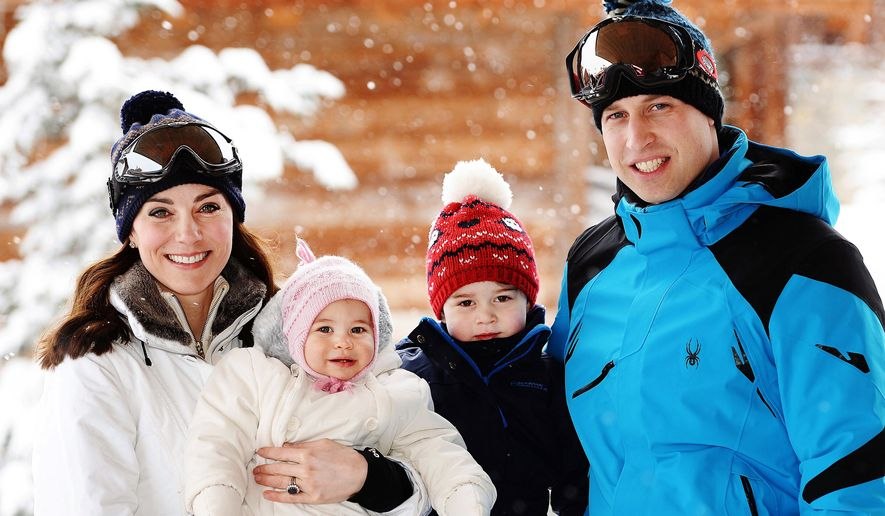 Britain's Prince William, right, and Duchess of Cambridge with their children, Princess Charlotte, center left, and Prince George, enjoy a short private break skiing in the French Alps, Thursday March 3, 2016. This is the first time the family of four have taken a holiday together. (John Stillwell/Pool via AP)