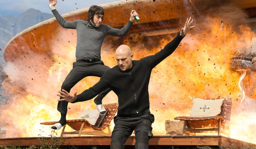 "This image released by Sony Pictures shows Sacha Baron Cohen, left, and Mark Strong in Columbia Pictures' ""The Brothers Grimsby."" (Daniel Smith/Sony Pictures via AP)"