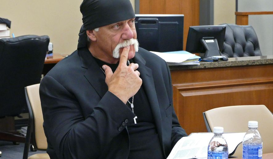 FILE -In this Tuesday, March 1, 2016 file photo, Terry Bollea, known as professional wrestler Hulk Hogan, watches potential jurors at the Pinellas County Courthouse, in St. Petersburg, Fla., as jury selection began in his case vs. Gawker Media. Opening statements are scheduled to begin Monday, March 7, 2016, in the civil trial between pro wrestler Hulk Hogan and a popular news website. (Scott Keeler/The Tampa Bay Times via AP, Pool, File)