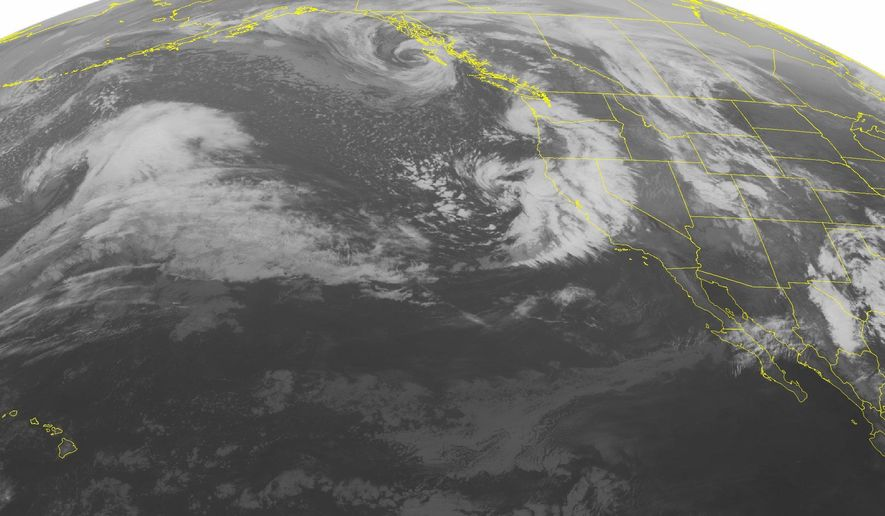 This NOAA satellite image taken Monday, March 7, 2016, at 1:00 a.m. EST shows a strong area of low pressure moving onshore into the Pacific Northwest. The cold front associated with this area of low pressure extends southward into California. This storm system will bring heavy rain and heavy mountain snow. Another storm system is currently located over the Inter-mountain West and Rockies. This will bring area of rain and snow to the area as it moves east into the Plains. As this system moves into the Plains it will increase the risk of severe weather. The strongest thunderstorms will be seen in the Southern Plains as a dryline develops in western Texas and then moves eastward. Large hail and isolated tornadoes are possible. (Weather Underground via AP)