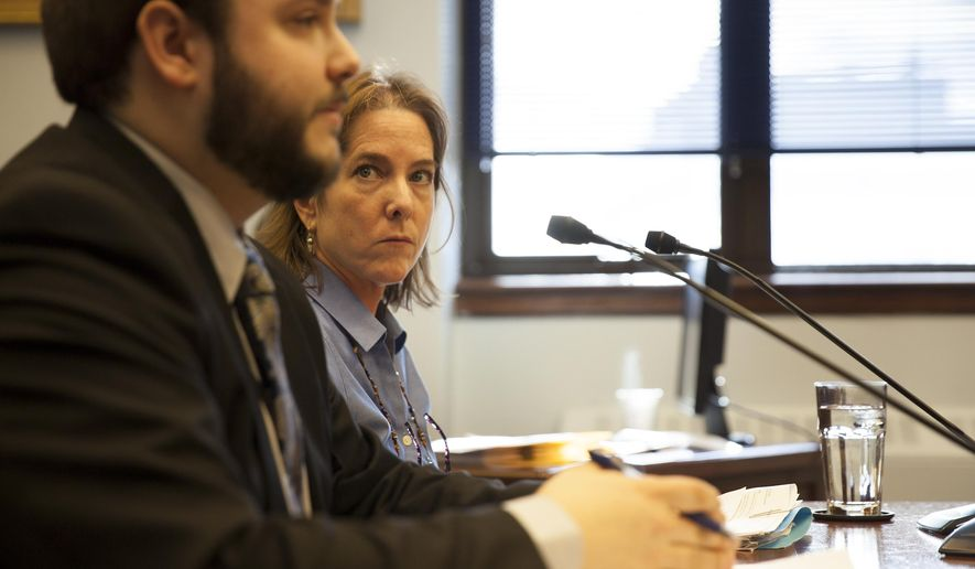 Daniel George, legislative staff member, and Legislative Finance Fiscal Analyst Kelly Cunningham testify during a hearing on a criminal justice system overhaul on Tuesday, March 8, 2016, in Juneau, Alaska. (AP Photo/Rashah McChesney)