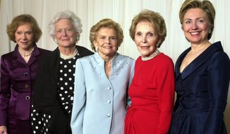 In this Jan. 17, 2003 photo, former first ladies get together for a group photo at a gala 20th anniversary fundraising event saluting Betty Ford and the Betty Ford Center in Indian Wells, Calif. From left are Rosalynn Carter, Barbara Bush, Betty Ford, Nancy Reagan and Sen. Hillary Rodham Clinton. Former first lady Nancy Reagan, whose funeral service scheduled for Friday, March 11, 2016, was planned down to the smallest details by the former first lady herself. Scheduled to attend are former president George W. Bush and his wife Laura Bush, former first ladies Rosalynn Carter and Sen. Hillary Clinton, and first lady Michelle Obama. (AP Photo/Reed Saxon, File)