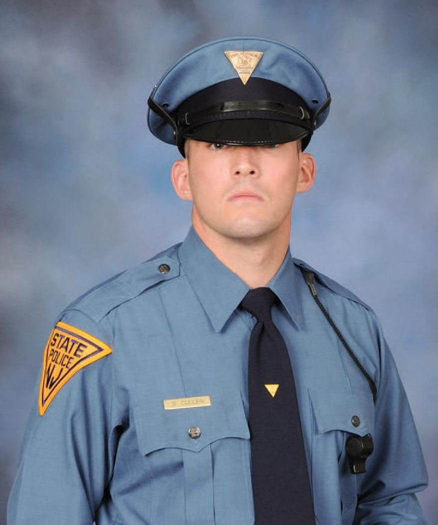 In this undated photo provided by the New Jersey State Police, N.J. State Trooper Sean Cullen is shown. Cullen died early Tuesday, March 8, 2016 from severe head injuries after being struck by a passing car while responding to an automobile accident on a New Jersey highway shortly after 8 p.m. on March 7. He was 31 years old. (New Jersey State Police via AP)