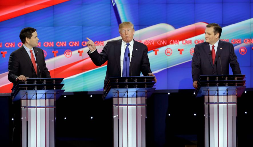 Donald Trump, flanked by Marco Rubio (left) and Ted Cruz, has been the center of attention during this year's Republican presidential debates, though 12.5 million viewers still tuned into Fox News during his absence from the Jan. 28 forum. The network's 1.49 million concurrent streams made the March 3 debate the most-watched primary live-stream event ever. (Associated Press)