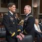 In this March 9, 2016, file photo, Gen. Joseph L. Votel (left), head of the Special Operations Command, has been nominated to become the commander of U.S. Central Command, which oversees military operations in Iraq and Syria against the Islamic State group. Lt. Gen. Raymond A. Thomas (right) has been nominated to lead the Special Operations Command. (Associated Press) ** FILE **