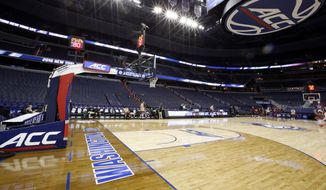 Teams practice in Verizon Center before the NCAA college basketball Atlantic Coast Conference tournament series, Monday, March 7, 2016, in Washington. (AP Photo/Alex Brandon)
