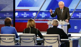 """I think that the American people are never going to elect a president who insults Mexicans, who insults Muslims, who insults women, who insults African-Americans,"" Sen. Bernard Sanders said at a presidential primary debate in Miami. (Associated Press)"
