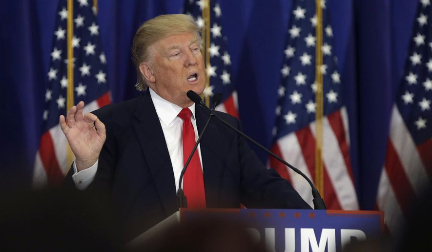 In this March 8, 2016, file photo, Republican presidential candidate Donald Trump speaks during a news conference at the Trump National Golf Club in Jupiter, Fla. (AP Photo/Lynne Sladky, File)