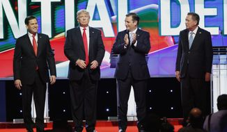 Republican presidential candidates (from left), Sen. Marco Rubio, businessman Donald Trump, Sen. Ted Cruz and Ohio Gov. John Kasich participate in the Republican presidential debate sponsored by CNN, Salem Media Group and The Washington Times at the University of Miami on Thursday in Coral Gables, Florida. (Associated Press)