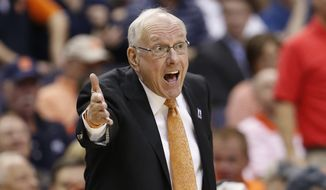 Syracuse head coach Jim Boeheim directs his team during the second half of an NCAA college basketball game in the Atlantic Coast Conference tournament, in Washington , Wednesday, March 9, 2016.  (AP Photo/Steve Helber)