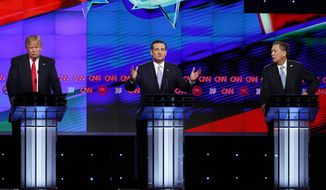 Republican presidential candidate, Sen. Ted Cruz, R-Texas, center, speaks, as Republican presidential candidates, Ohio Gov. John Kasich, right, and businessman Donald Trump, left, listen, during the Republican presidential debate sponsored by CNN, Salem Media Group and the Washington Times at the University of Miami,  Thursday, March 10, 2016, in Coral Gables, Fla. (AP Photo/Wilfredo Lee)