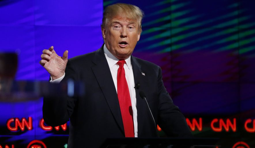 "Asked during the Republican debate if he meant that all 1.6 billion Muslims worldwide hate the United States, Donald Trump replied, ""I mean a lot of them. I mean a lot of them. There's tremendous hatred, and I will stick with exactly what I said."" (Associated Press)"