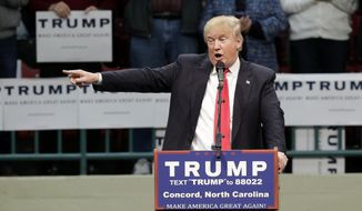 Republican presidential candidate Donald Trump speaks during a campaign rally in Concord, N.C., Monday, March 7, 2016. (AP Photo/Gerry Broome)