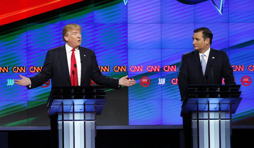 Texas Sen. Ted Cruz and Donald Trump vowed in the GOP debate Thursday night to end the Common Core federal education program. (Associated Press)