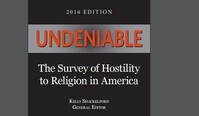 """Cover image of """"Undeniable,"""" a report on hostility toward religion in America, released by the First Liberty Institute."""
