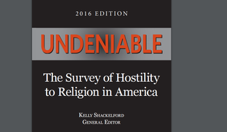 "Cover image of ""Undeniable,"" a report on hostility toward religion in America, released by the First Liberty Institute."