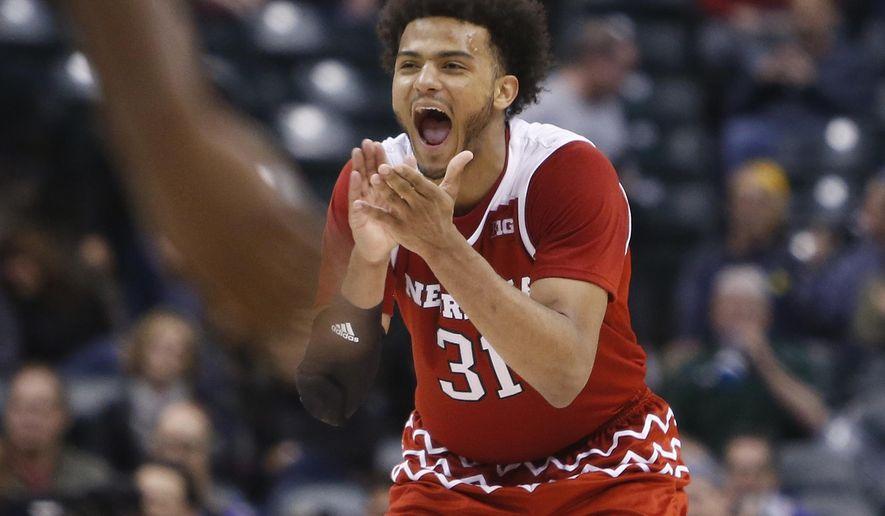 Nebraska's Shavon Shields (31) celebrates near the end of the second half of an NCAA college basketball game at the Big Ten Conference tournament, Thursday, March 10, 2016, in Indianapolis. Nebraska won 70-58. (AP Photo/Kiichiro Sato)
