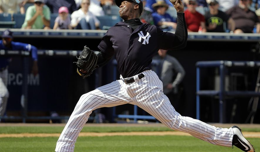 New York Yankees relief pitcher Aroldis Chapman delivers to the Toronto Blue Jays during the fifth inning of a spring training baseball game Thursday, March 10, 2016, in Tampa, Fla. (AP Photo/Chris O'Meara)