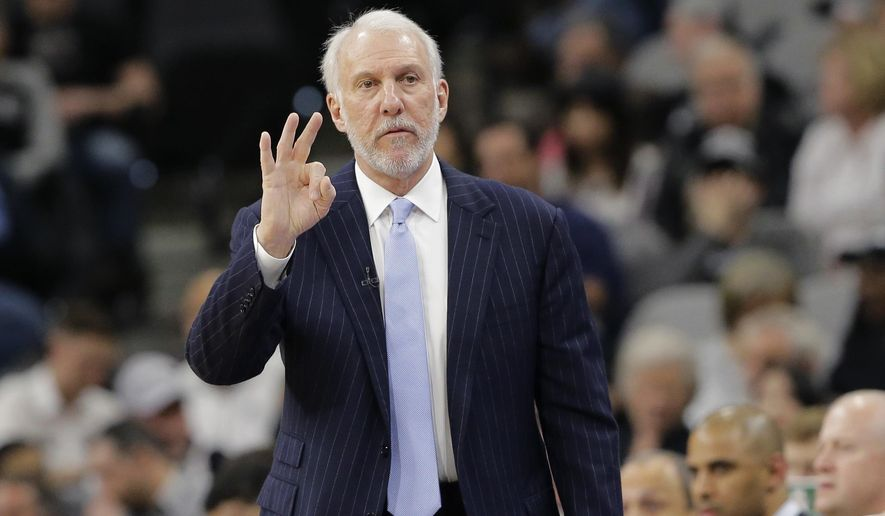 San Antonio Spurs head coach Gregg Popovich signals to his players during the first half of an NBA basketball game against the Chicago Bulls, Thursday, March 10, 2016, in San Antonio. (AP Photo/Eric Gay)