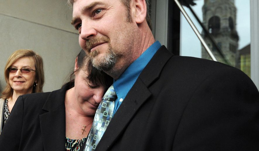 Dimock Township, Pa., residents Nolen Scott Ely and his wife Monica Marta-Ely were awarded $ 2.75 million dollars by a federal jury on Thursday, March 10, 2016, at the William J. Nealon Federal Building and U.S. Courthouse in downtown Scranton, Pennsylvania, after finding Cabot Oil & Gas based in Houston, Texas responsible for contaminating their well water. Another Dimock Township couple Raymond and Victoria Hubert werw awarded $ 1.49 million dollars. Both families alleged that Cabot was negligent in drilling two natural gas wells near their Susquehanna County homes, which contained their wells with high levels of Methane. Both families have been pursuing the case for 6 years after rejecting a settlement offer in 2012.  ( Butch Comegys / The Times & Tribune via AP)   MANDATORY CREDIT